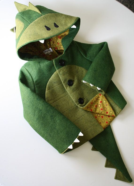 Kids Coat Cheeky Green Dinosaur by littlegoodall on Etsy, $150.00