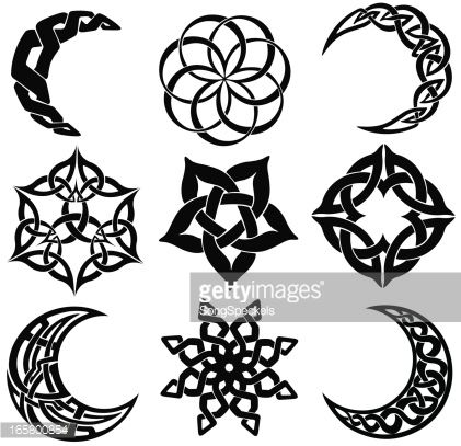 Vector Art : Celtic knot moons, stars, shapes More