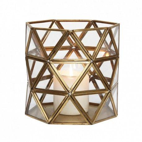 Lanterne triangle doré Hubsch