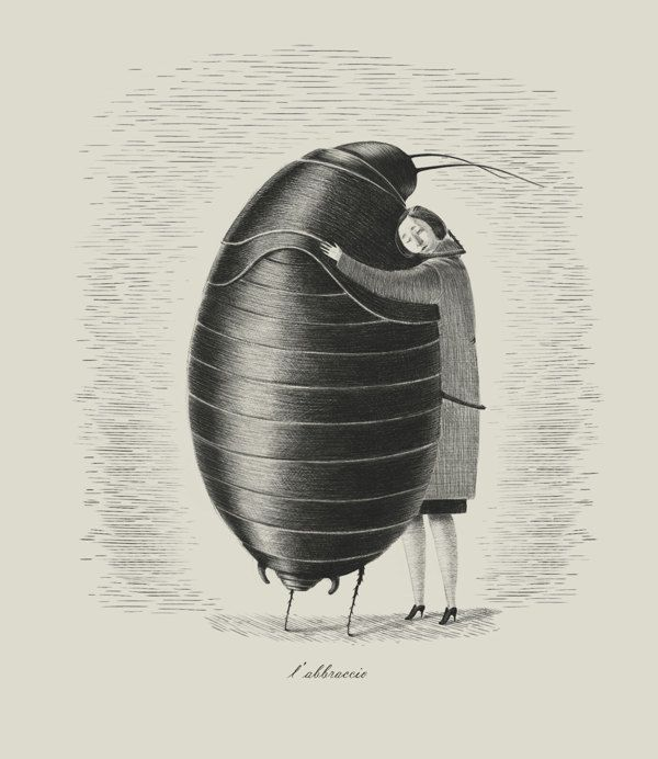 Blatte by Giulia Ghigini, via Behance. I really wish this could have happened in Kafka's metamorphosis.