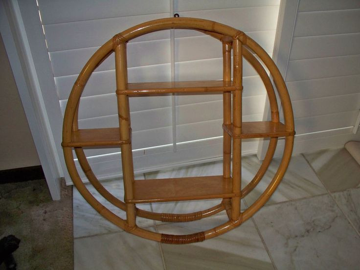 Art Deco Paul Frankl Style Round Bamboo Wall Shelf Mid Century Hawaiiana Hawaii