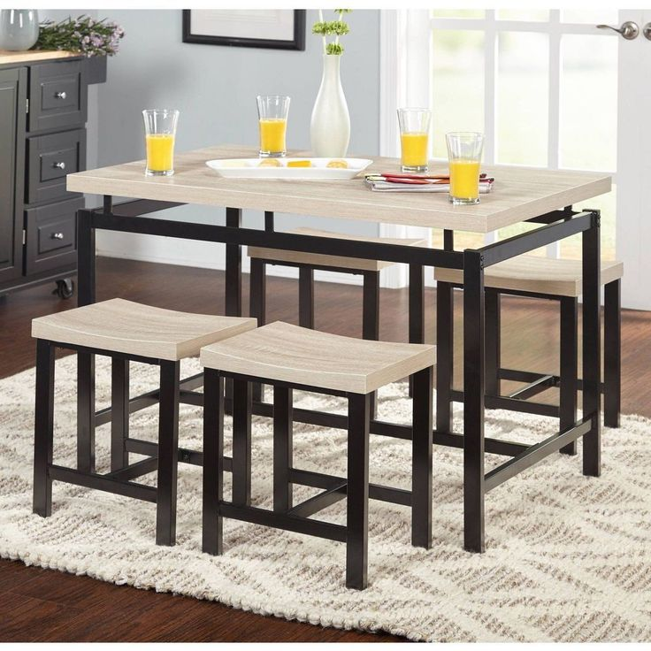 5-Piece Dining Set For 4 Person Kitchne Bar Stand Pub Table And Chairs Furniture #5PieceDiningSet