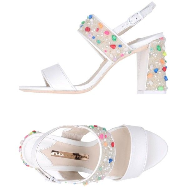 Sophia Webster Sandals ($610) ❤ liked on Polyvore featuring shoes, sandals, white, white shoes, beaded sandals, leather sole sandals, leather shoes and real leather shoes