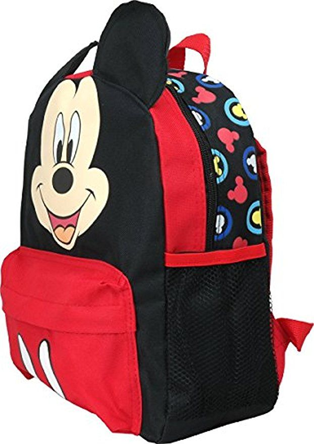 """Disney Mickey Mouse w// 3D Ears 12/"""" Backpack Back to School Book Bag for Kids"""
