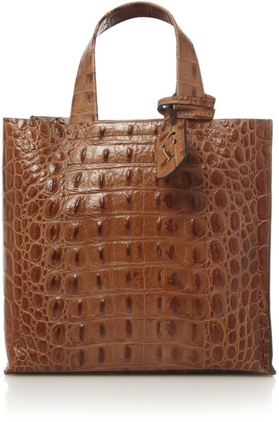 Furla ~ Divide It Small Croc Tote Love the quality of Furla bags !