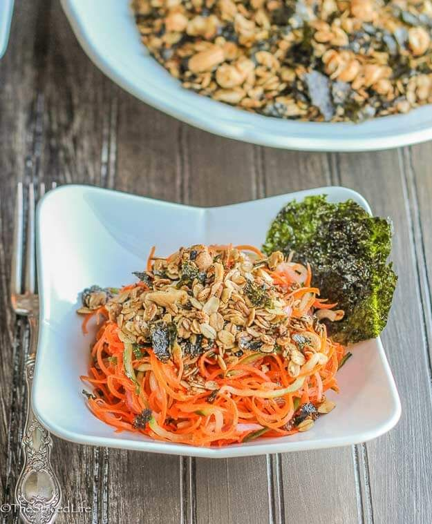 Spiralized Sake Carrot Salad with Nori Granola--unexpected but absolutely delicious and easy!: