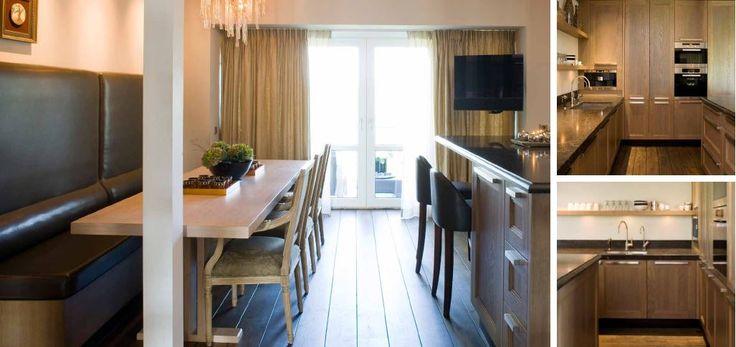 Maatwerk - landelijk klassiek - massief eiken - bank bekleedt met echt leer - massief eiken tafel - The Living Kitchen by Paul van de Kooi