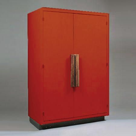 Le Corbusier, Cabinet, Plywood and red paint, 1952, 61.4H x 41.1W x 20.5D inches