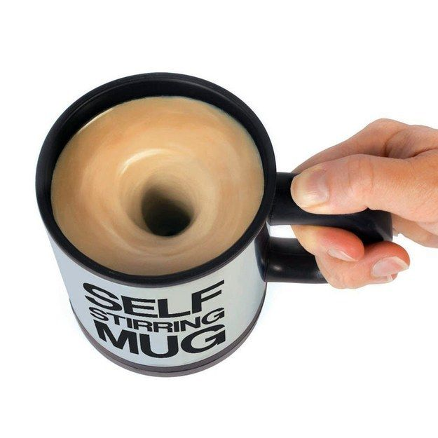 Take your coffee any way you want it without the burden of a sloppy stir with this self-stirring mug.