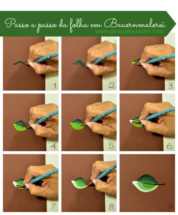 Atelier Gina Pafiadache: Passo a passo de folhas em Bauernmalerei
