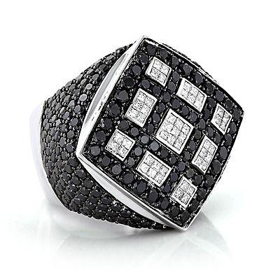 Celebrity 14K Gold White Black Diamond Mens Massive Ring 8.65ct