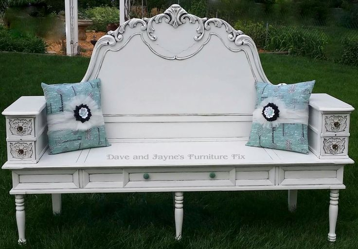 One of my favorite benches from Dave and Jayne's Furniture Fix! This bench was made from a headboard, coffee table, sewing machine drawers and some old table legs  https://www.facebook.com/daveandjaynes/