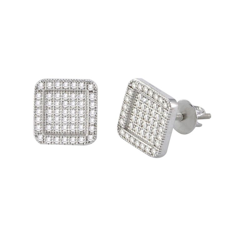 Screw Back Earrings Sterling Silver Pave CZ Cubic Zirconia 9mm Rounded Square Frame Sterling Silver Earrings, .925 stamped 9mm Rounded Square Raised Frame Design Handset & Hand Polished Micropave Ston