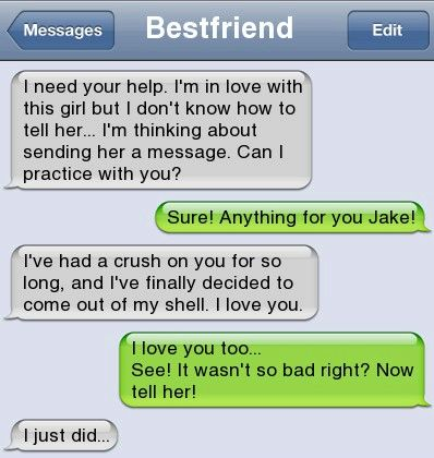 Awe! But it would have been better to tell her in person instead of a text message. But it's still cute