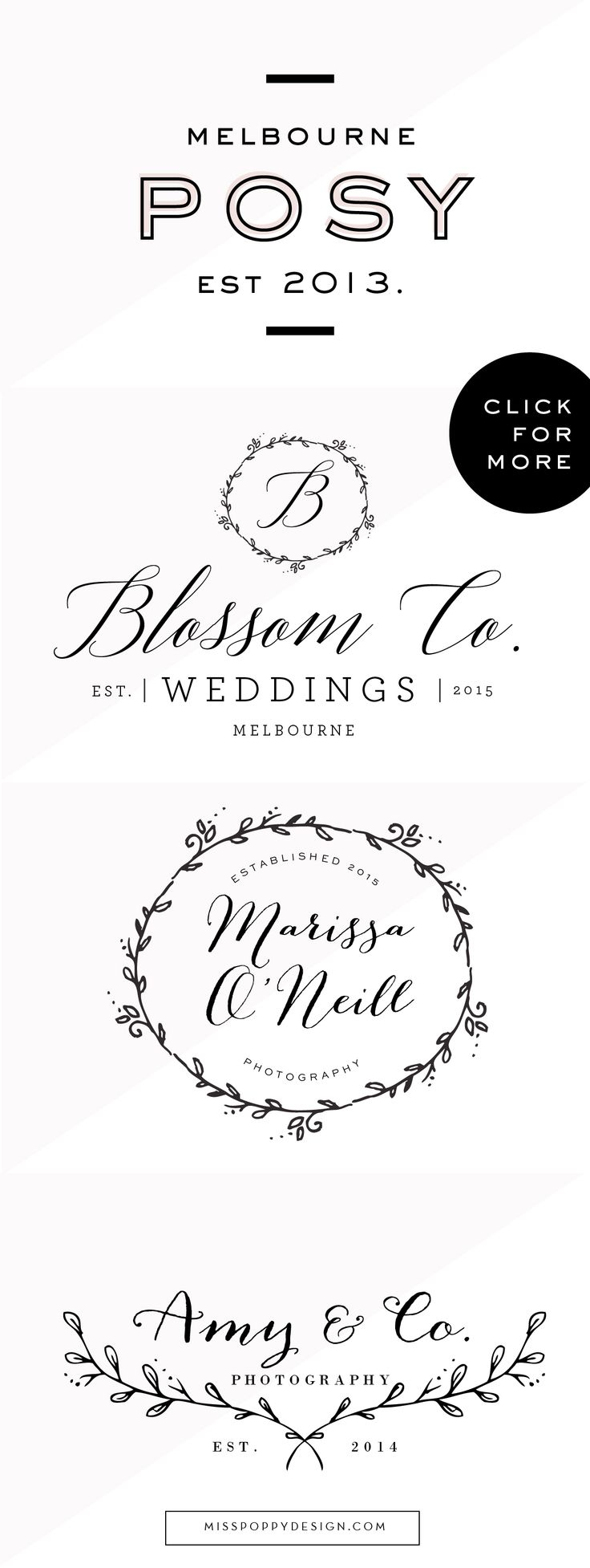 MISS POPPY DESIGN / Logo Collection / Branding / Photographer / Chic / Modern / Pretty / Hand Drawn / Calligraphy / Floral