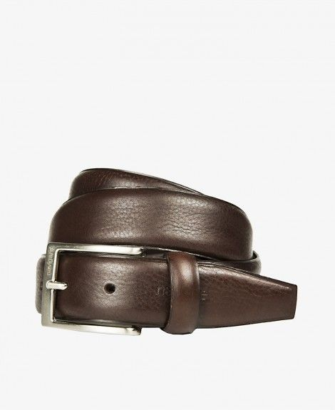 Leather belt, Made in Italy, with square metal buckle and Navigare logo | Navigare