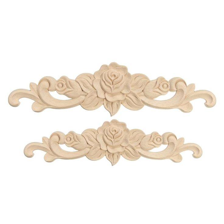 KiWarm Retro Rose Floral Wood Carved Decal Corner Applique Decorate Frame Wall Doors Furniture Decorative Wooden Figurines Crfts
