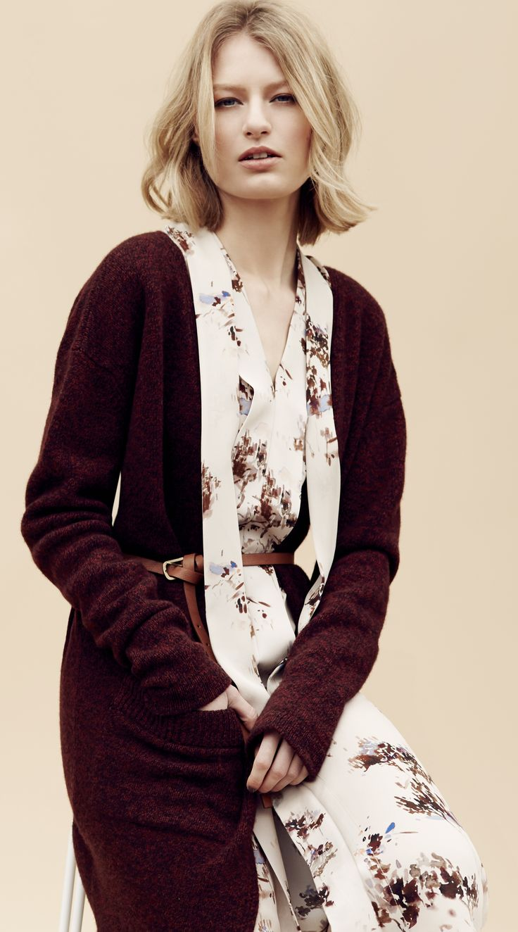 This pure lambswool longline cardigan in rust mix goes perfectly with this pure silk watercolour print shift dress.