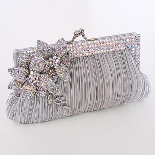 silver wedding clutch