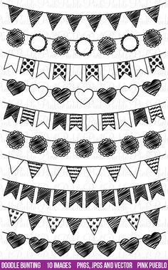 Doodle Bunting Clipart and Vectors by PinkPueblo on Creative Market