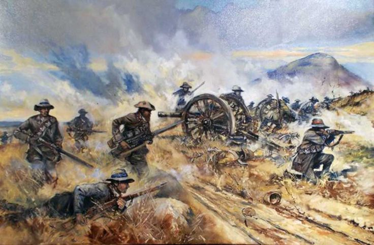 Boer commandos turning the British guns, Boer War