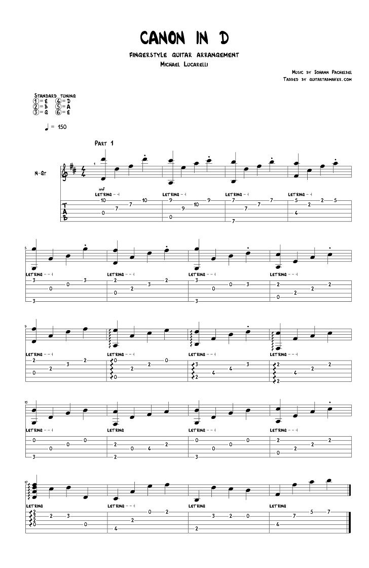 Canon In D Classical Fingerstyle Guitar Tab Pdf Guitar Sheet