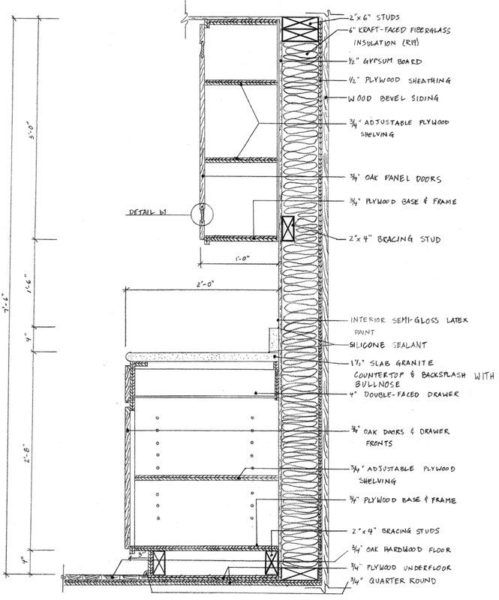 Kitchen Cabinet Section Autocad Kitchen Drawing Drawing