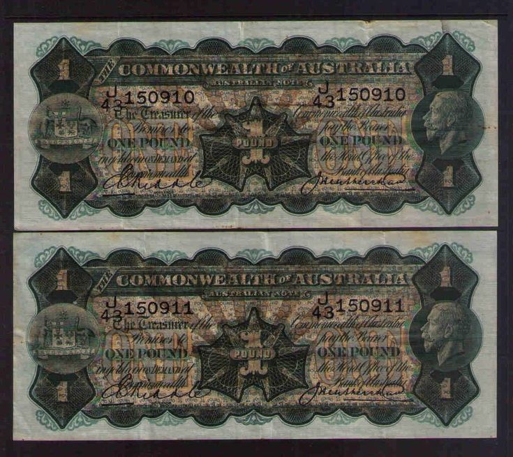 Commonwealth of Australia R26 - 1 pound  CONSECUTIVE PAIR 1927 VF CRISPY