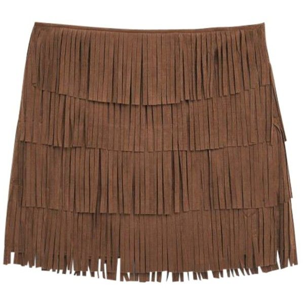 Mango Fringed Mini Skirt, Brown ($61) ❤ liked on Polyvore featuring skirts, mini skirts, bottoms, a line skirt, fringe skirt, short mini skirts, bohemian style skirts and tassel skirt