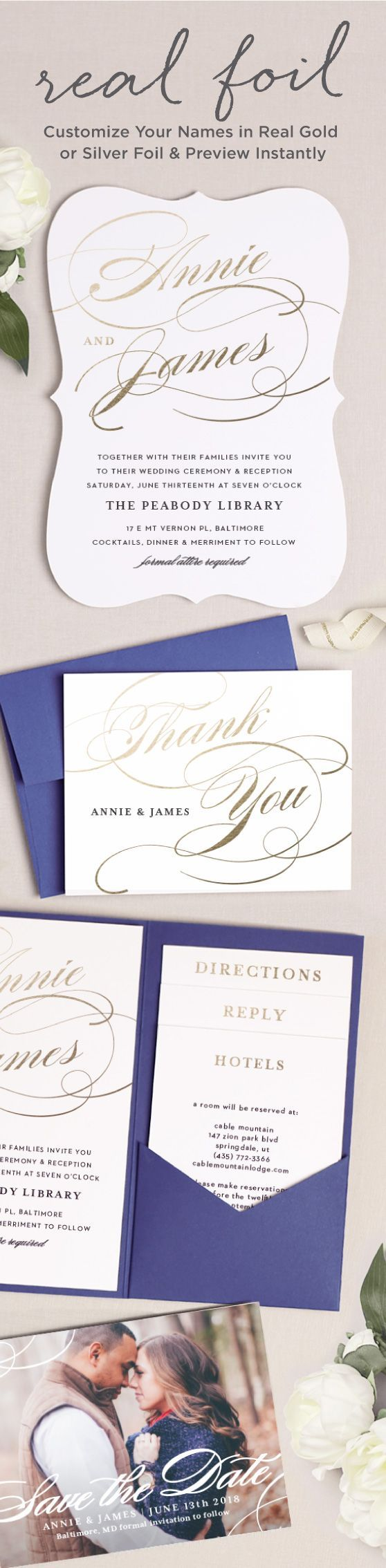 sending wedding invitations months before%0A Design your perfect foil wedding invitations  Add foil to any element on  the invitation including