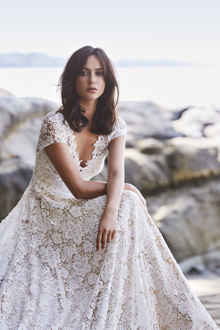 Took my first ready-to-wear order for our beautiful Guipure gown today! This stunning style features porcelain lace over a soft slip in nude satin. The skirt flatters the female form through moderate flare and the bodice is fitted with a detailed lace-edged neckline. #lace #wedding #dress #guipure #nude #romantic