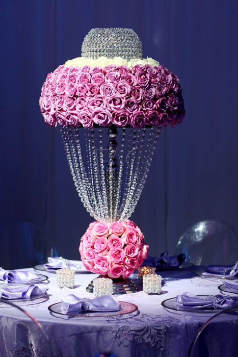 Unique floral centerpiece crystal and rose centrepiece