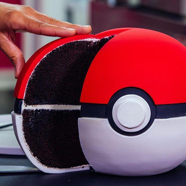 Soooo what do you think is REALLY inside a Poké Ball? Tiny furniture? Cake?  #HowToCakeIt #Cakestagram #Dessert #Baking #Cake #Instacake #Instasweet #Pokemon #PokemonGO #PokeBall#PokeBallCake # #