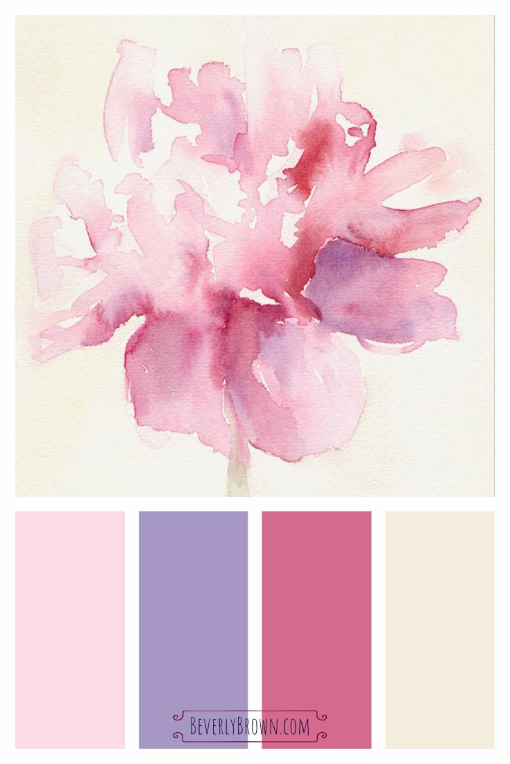 Pink Peony Watercolor Wall Art Prints Pink Color Schemes Shabby