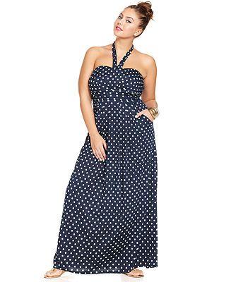 Brown polka dot dress plus size