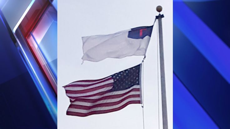 Indiana church makes bold statement about nation's 'immorality,' puts U.S. flag below Christian flag