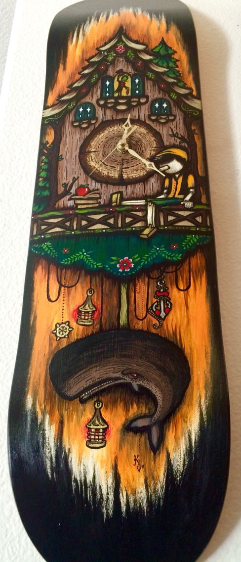 My Pinocchio cuckoo clock skate deck painting I did a while back. My personal favorite❤️