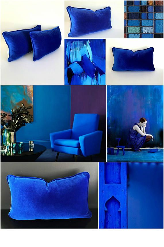 Royal Blue Velvet Pillow Cover Cobalt Blue Cushion Cover Etsy Blue Living Room Decor Black Living Room Decor Blue Cushions