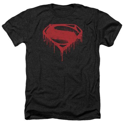 Men's Superman T-Shirt with Splattered Logo from the Batman vs Superman line.