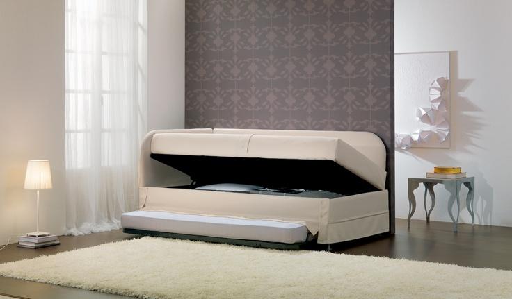 Golf 320G  letto divano singolo con base contenitore e rete extra  OGGIONI