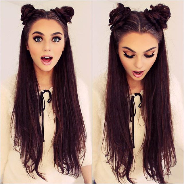 "#spacebuns appear in my @arianagrande #singandstyle omg her #christmasandchill EP IS #AMAZEBALLZ hahah not enough hashtags HAPPY FRIDAYps. Wearing one 4 clip weft of @bellamihair 22"" dark brown extension for added volume xo"
