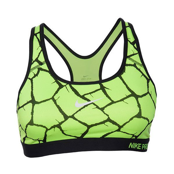 Women's Nike Pro Classic Giraffe Print Padded Bra ($45) ❤ liked on Polyvore featuring activewear, sports bras, nike sports bra, nike activewear, yoga activewear, green sports bra and racer back sports bra