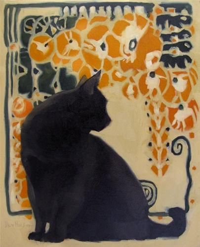 """Cat Nouveau II black cat art nouveau painting"" - Original Fine Art for Sale - © Diane Hoeptner"
