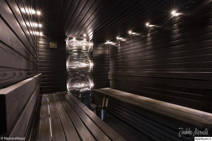 sauna,kiuas,musta,kiviseinä,led,led-valot