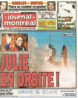 28 mai 1999. Julie Payette s'envole à bord de la navette spatiale.