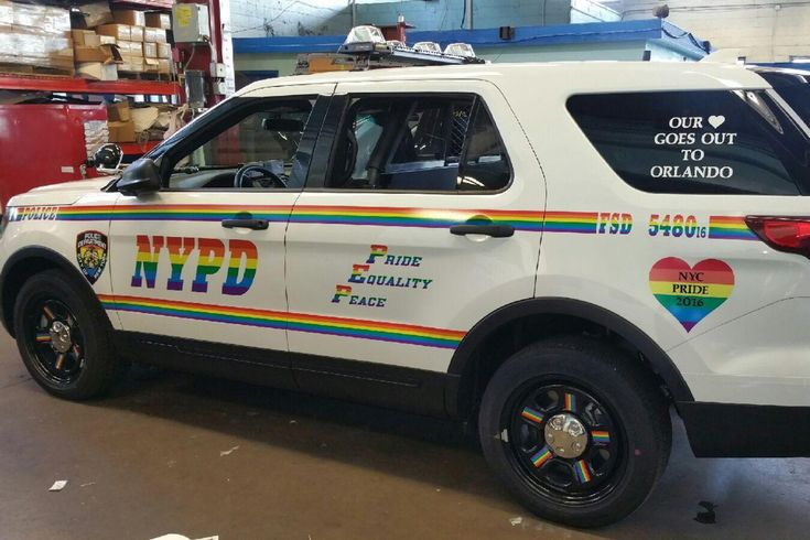 The NYPD is supporting gay pride with a new rainbow colored patrol vehicle. The SUV was apparently painted for the city's gay pride parade Sunday in Manhattan and carries a message of support for O…
