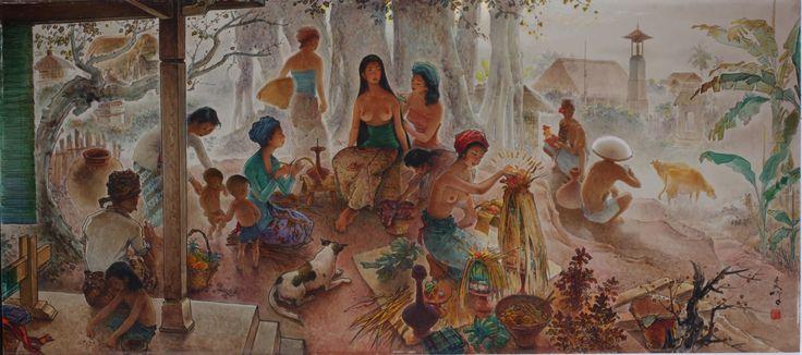 Lee Man Fong (1913 – 1988), Bali Life, Oil on Masonite Board, 81 x 181.5cm