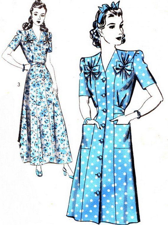 1940s Dress Pattern Hollywood 1120 Womens House door paneenjerez, $25.00