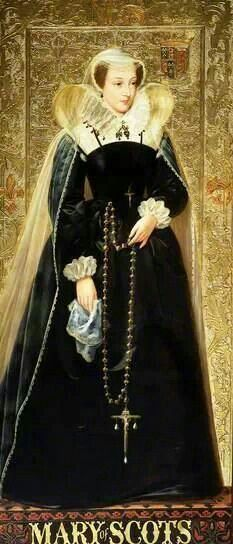 Mary, Queen of Scots, mother of James VI & I, oil on panel by Richard Burchett (1815–1875), part of his series of portraits at the Palace of Westminster telling the Tudor story