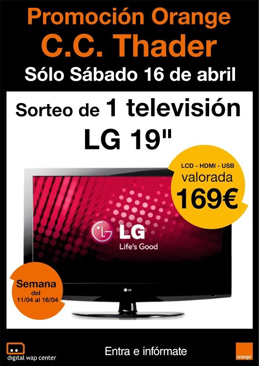 Participa del sorteo de 1 televisión LG en nuestra tienda ubicada en el Centro Comercial Thader - Local B15 Churra (Murcia)